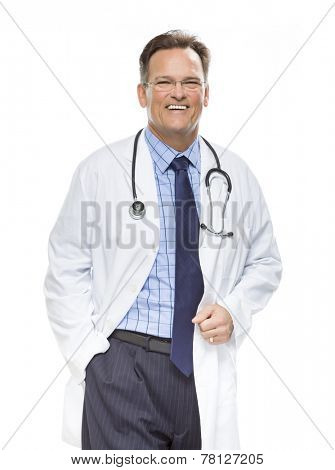 Handsome Smiling Male Doctor in Lab Coat with Stethoscope Isolated on a White Background.