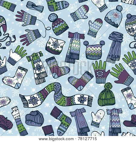 Knitted clothing accessories seamless pattern.Colored Sketchy