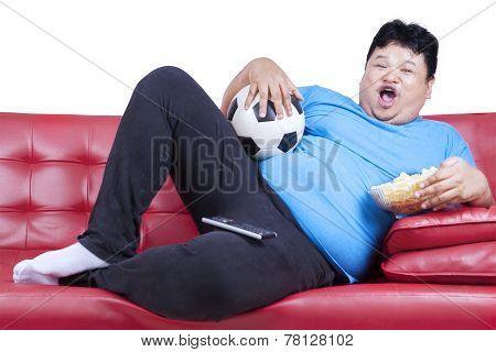 Overweight Man Watching Football Match 1