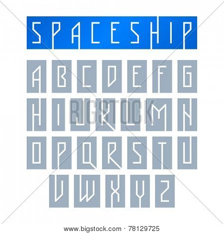 Modern font with monospaced typeface, alphabet. Vector.