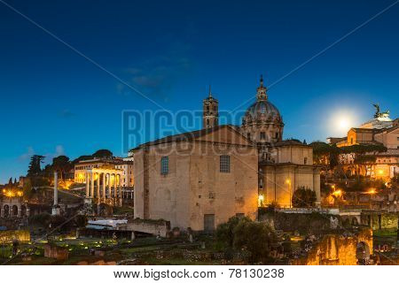 Full Moon Over The Forum Romanum