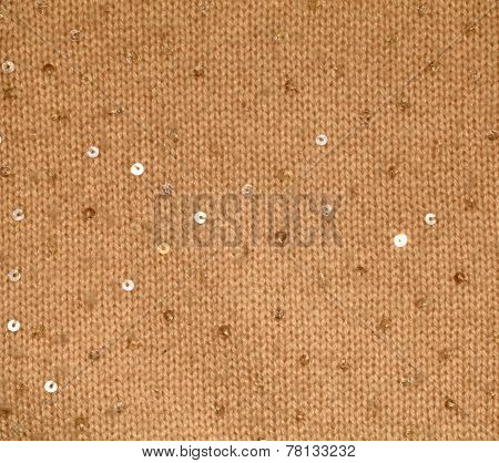 Yellow Wool Textile Background With Sequins
