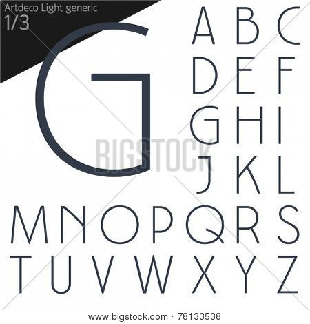 Vector illustration of generic font. Art deco style