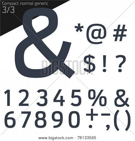 Vector illustration of generic font. Compact Normal style