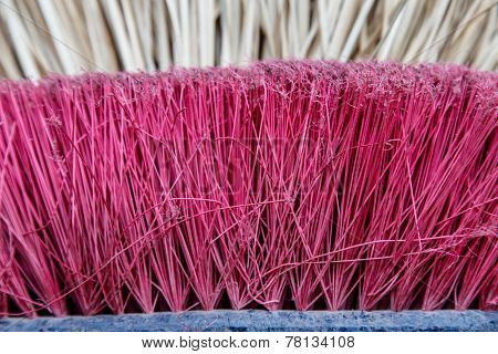 Broom Of Straw And New Broom Closeup