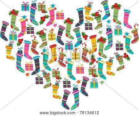 Christmas heart made of different santa socks