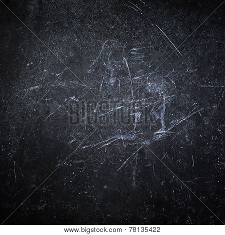Abstract Black Background With Spotlight. Dark Grunge Textured Wall Closeup For Desighn. Grungy  Bla
