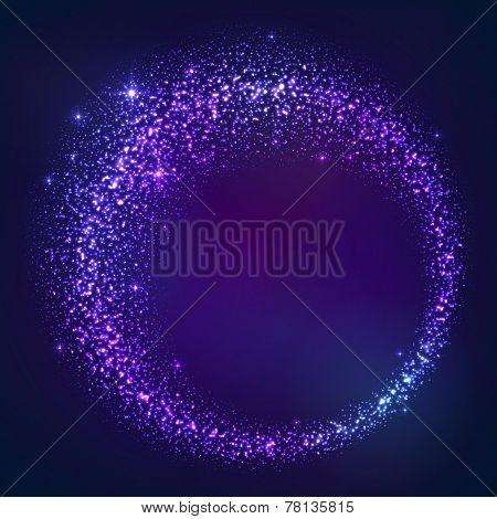Dark blue star dust magic round frame