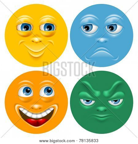 Cartoon face set with positive