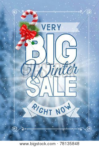 Advertisement about the winter sale on defocused background with christmas decoration. Vector illustration.