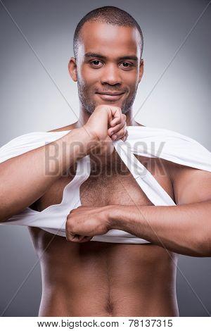 Taking His Shirt Away.