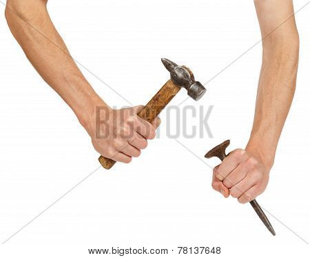 Male Hands Working With Hammer And Chisel