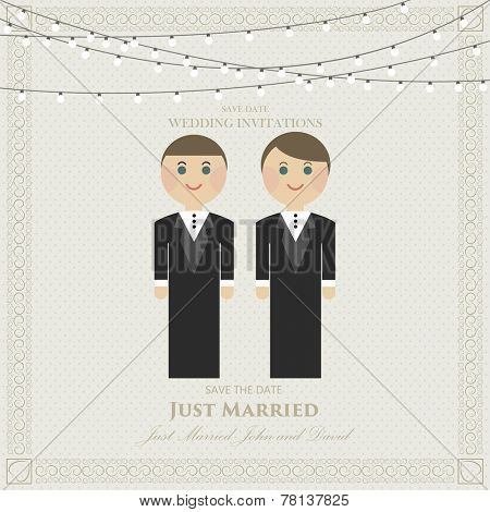 wedding invitation flat gay. wedding card flat