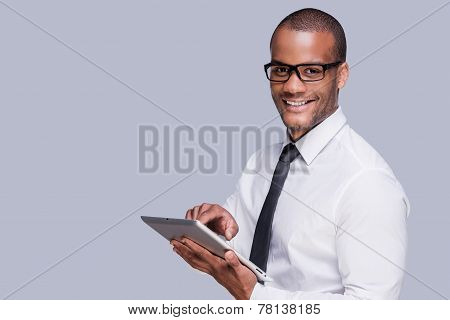 Businessman With Digital Tablet.