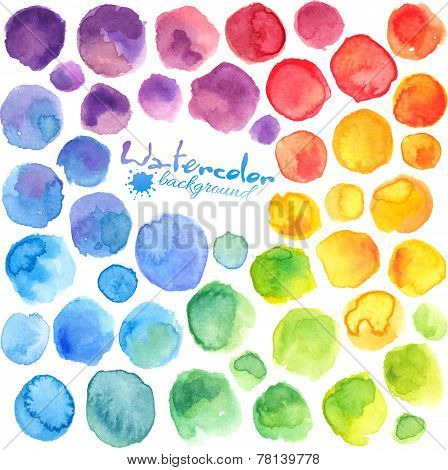 Bright rainbow colors watercolor painted stains