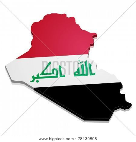 detailed illustration of a map of Iraq with flag, eps10 vector