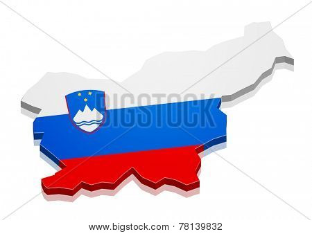 detailed illustration of a map of Slovenia with flag, eps10 vector