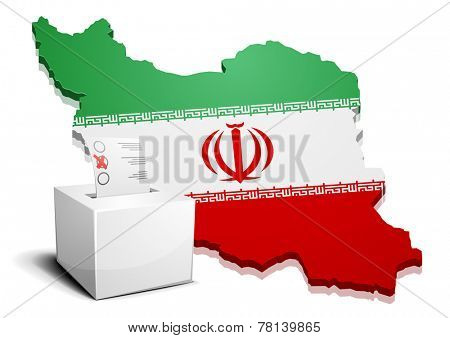 detailed illustration of a ballotbox in front of a map of Iran, eps10 vector