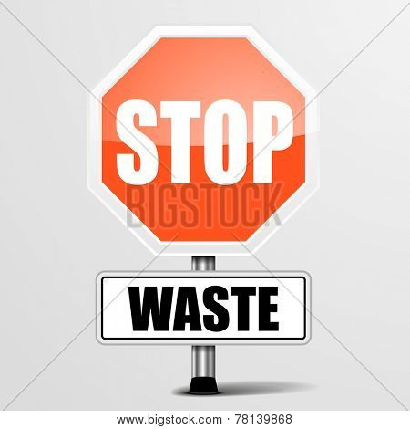 detailed illustration of a red stop waste sign, eps10 vector