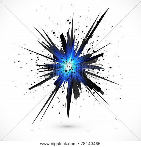 Black isolated vector explosion with particles