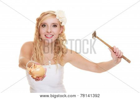 Woman Bride With Hammer About To Smash Piggy Bank