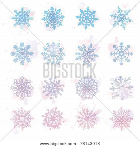 Watercolor snowflakes, VECTOR, star, symbol, graphic, crystal, decoration,