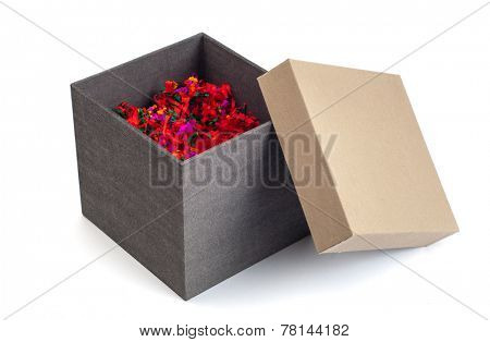 An opened hard paper gift box filled with decorative colorful shredded paper. Image on white background.