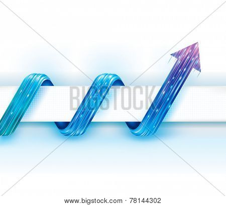 Abstract tech background with curved arrow guide.