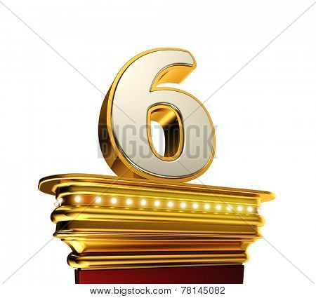 Number Six on a golden platform with brilliant lights over white background