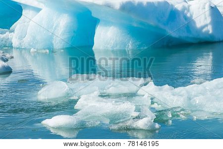 Detailed photo of the Icelandic glacier iceberg in a ice lagoon with incredibly vivid colors and a nice texture