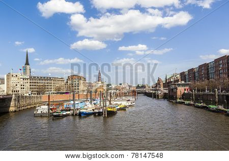 Boats In A Canal In The Baumwall Area In Hamburg,