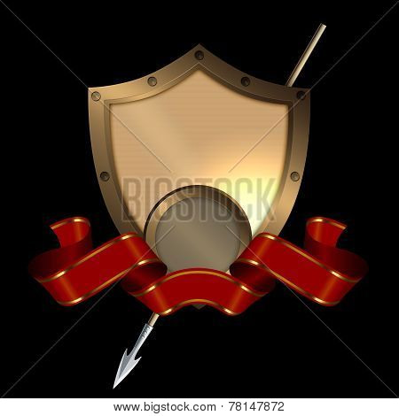 Medieval Shield With Spear And Red Ribbon.
