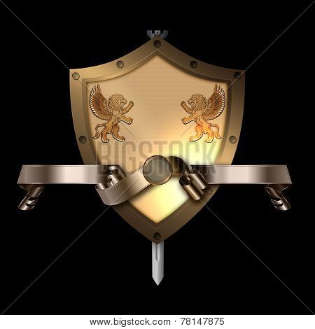 Medieval Shield With Sword And Gold Ribbon.