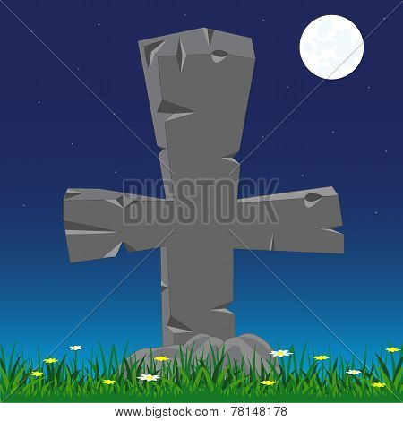 Grave with cross from stone