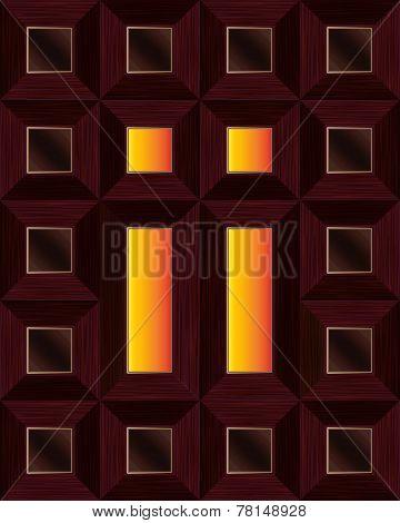 Mahogany Window With Cross Centrepiece