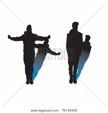 Man Silhouttes With Shadow