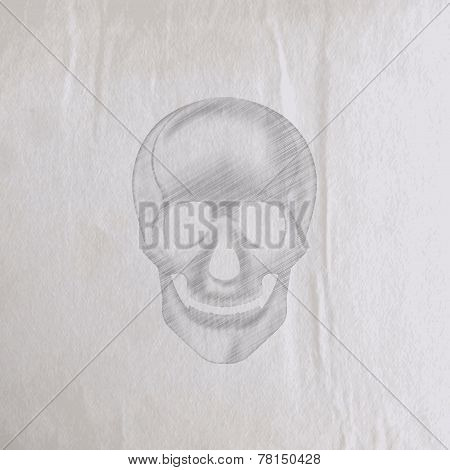 vector illustration of a hand-drawn pencil human skull on an old wrinkled paper texture