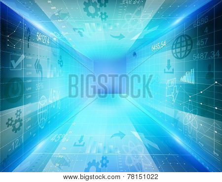 abstract background with abyss of the icons and graphics.
