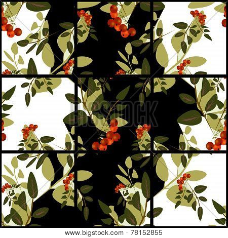 Patchwork Retro Bright Autumn Rowanberry Pattern Background