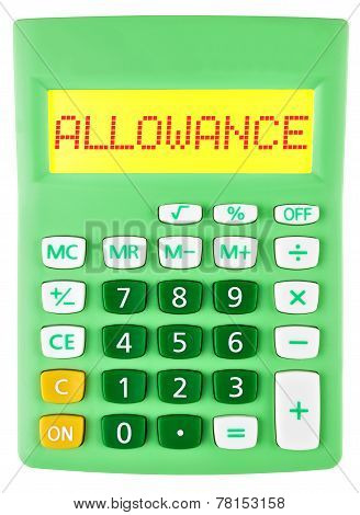 Calculator With Allowance On Display