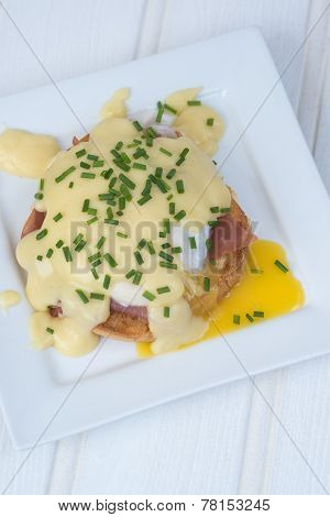 Eggs Benedict Toasted English Muffins Ham Poached Eggs And Hollandaise Sauce