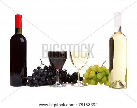 wine cheese and grapes.