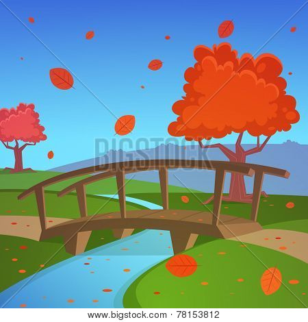 Autumn landscape with bridge