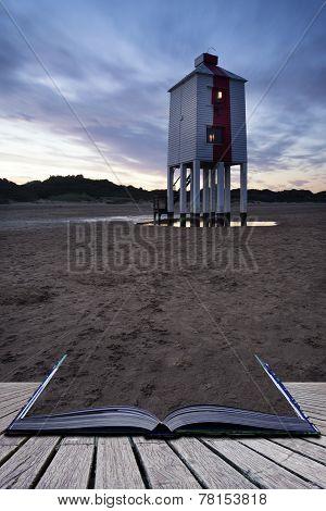 Beautiful Landscape Sunrise Stilt Lighthouse On Beach Conceptual Book Image