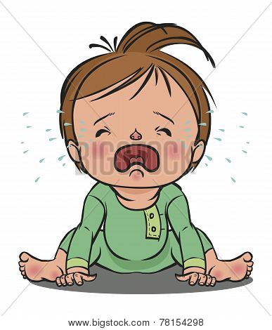 crying baby. vector illustration