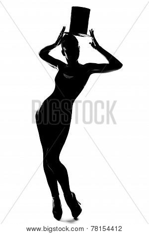 Silhouette Of Fashionable Girl With Cylinder