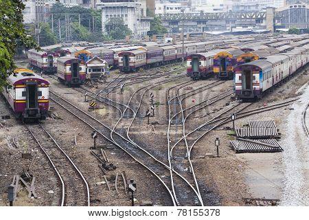 railways junction of bangkok trains station scene