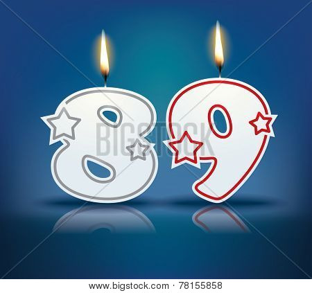 Birthday candle number 89 with flame - eps 10 vector illustration