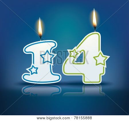 Birthday candle number 14 with flame - eps 10 vector illustration