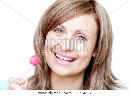 Smiling Woman Holding A Lollipop